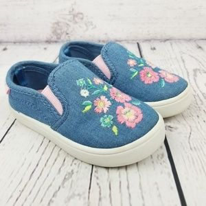 Carters Blue Floral Slip-on Sneakers